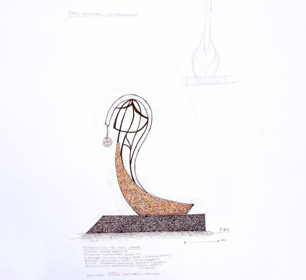 Den här sidan av ån - Material: granit, aluminium, stål, mässing